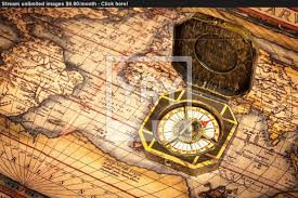 Ancient Map Vintage Pirate Compass On Ancient Map Image Yayimages Com