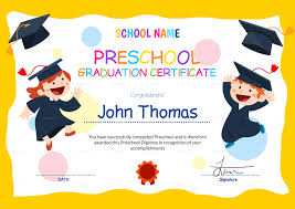 preschool graduation certificate design template in psd word