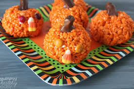 Vegetarian Halloween Appetizers by Easy Pumpkin Krispies Treats Yummy Healthy Easy