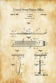 Cabin Decor Snowboard Patent 1969 Patent Prints Snowboarding Ski Lodge