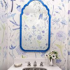 white and blue floral powder room wallpaper design ideas