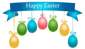 happy easter banner with hanging eggs transparent png clip art