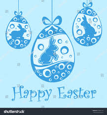 hanging easter eggs rabbit blue ornament stock vector 593691125