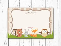 items similar to woodland thank you card forest friends thank you