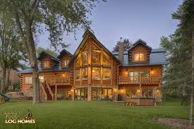 golden eagle log and timber homes log home cabin pictures lakeside view of home view 2