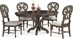 charleston round dining table and 4 scroll back side chairs gray