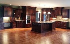 Large Kitchen Cabinets Kitchens With Dark Wood Floors Large Open Concept Cherry Kitchen