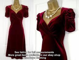 ex m u0026s red velvet cocktail party evening dress vintage 40s 50s ww2