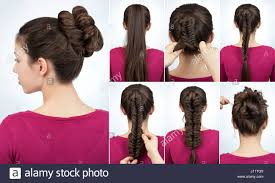 step by step twist hairstyles bun with fish tail braid simple hairstyle twisted bun with plait