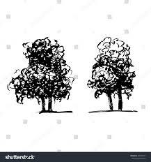 sketch trees ink brush curly krona stock vector 490509127