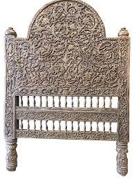 Carved Wooden Headboards Antique Vintage Headboard Intricate Jaipur Floral Carved Wood