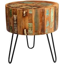 round wood accent table hton reclaimed wood 1 drawer end table intended for plans 13