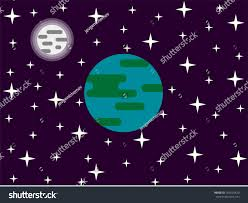 Green Flag With Star And Moon Earth Moon Stars Space Flat Design Stock Vector 701635420