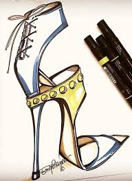 drawn shoe illustrated pencil and in color drawn shoe illustrated