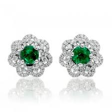 10mm diamond emerald diamond stud earrings flower halo 10mm