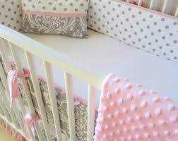 Pink And Grey Crib Bedding Sets Pink Gray Bedding Etsy