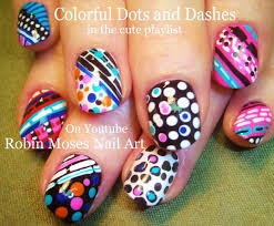 nail art tutorial stripes and polka dot nails fun and crazy