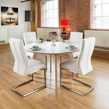 luxury round dining table large 1400mm luxury round dining table set with 4 white padded