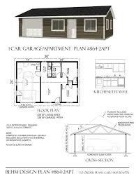 1 car apartment garage plan with one story 864 2apt 36 u0027x24 u0027behm