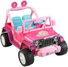 white and pink jeep amazon com fisher price power wheels barbie jammin u0027 jeep wrangler
