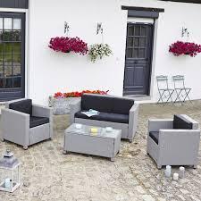 canape jardin resine salon de jardin en résine tressée gris teckandco