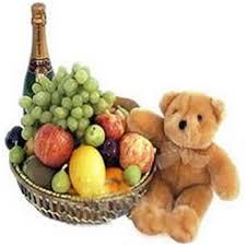 send a fruit basket send exclusive fruit basket with teddy fruit juice online