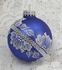 soft blue painted 3d floral mud ornament with rhinestone