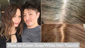 how to cover grey white hair tutorial youtube