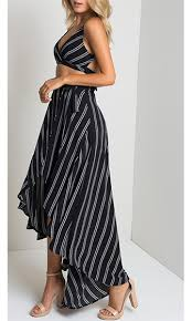 main line black white vertical stripe tie waist high low
