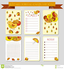 printable notes journal cards with autmun illustrations template