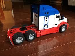 model semi trucks kenworth t680 semi truck lego 1 18 scale in red white and blue