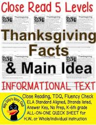 thanksgiving facts and idea 5 level passages read