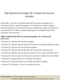 Restaurant Resume Sample by Top 8 General Manager Of A Restaurant Resume Samples 1 638 Jpg Cb U003d1437638200