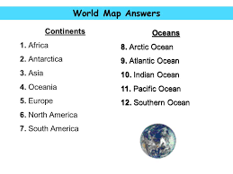 africa map answers world map answers continents oceans oceans 1 africa 8 arctic
