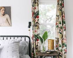 Large Print Curtains Barkcloth Curtains Etsy