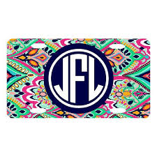 monogrammed plate lilly monogrammed license plate