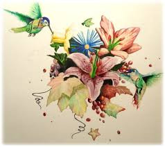 flying birds tattoo designs colorful floral with flying birds tattoo design by ruben fernandez