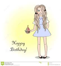 happy birthday card with a cute stock vector image 82708744