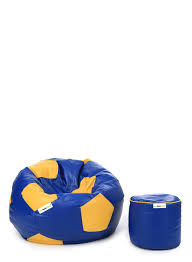 can bean bag blue yellow football round puffy cover only shelltag