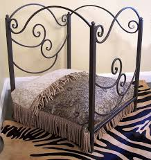 stylish and elegant wrought iron king bed all white headboard