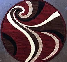 Round Red Rug Amazon Com Modern Round Red Swirl Area Rug Design 144 7 Feet 3