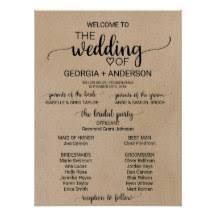 wedding program poster wedding program posters zazzle