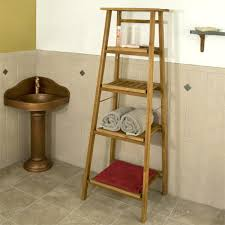 Wooden Shelves For Bathroom Four Tiered Ladder Style Teak Bathroom Shelf Bathroom