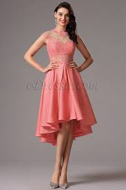 lace cap sleeves coral short cocktail dress 04160757