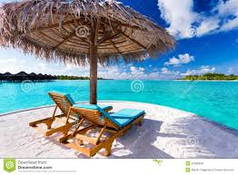 Chairs On A Beach Two Chairs And Umbrella On Tropical Beach Royalty Free Stock
