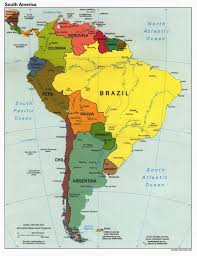 World Map With Names Of Countries by South America Map