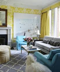 sunny living room cool to the eyes love the blue and yellow and