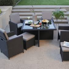 Dining Patio Set - all weather wicker nesting patio furniture dining set seats 4