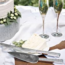 personalized wedding serving sets toasting flutes personalized wedding cake server sets