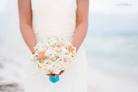 wedding bouquets with seashells turquoise malibu blue seashell wedding bouquet with starfish and